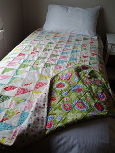 Single quilt based on a Jane Brocket design using fabrics left over from other quilts