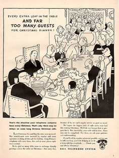 """1941 Bell Telephone Systems Christmas Cartoon Original Print Ad -An original vintage 1941 advertisement, not a reproduction -Measures approximately 10"""" x 13"""" to 11"""" x 14"""" -Ready for matting and framin"""