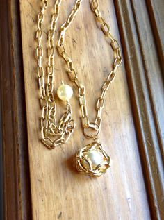 Funky Large Caged Pearl Pendant Necklace Redesigned Vintage Assemblage Gold Tone Upcycled Long Chain Ornate Handmade Orig. WishAnWearJewelry by WishAnWearJewelry on Etsy