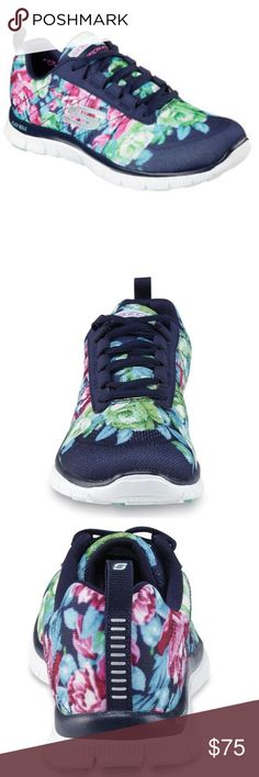 Navy Floral Women's Skechers New in box! Skechers floral shoes with memory  foam! Size
