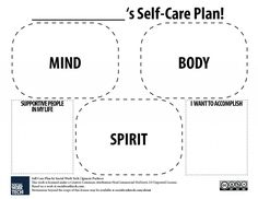 This Is A Self Care Plan Activity That You Can Do On Your Own Or With Someone Trust It Be Pa Friend Social Worker Teacher And Etc