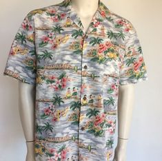 HO ALOHA Mens #Hawaiian #Aloha Shirt Hula Girls Ukulele Palm Trees #Pineapple Ocean #HOALOHA #ButtonFrontHawaiian #hulagirls #palmtrees #ukulele
