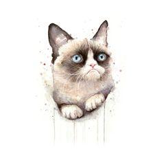Awesome 'Grumpy+Watercolor+Cat' design on TeePublic!