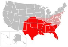 The current range of the Nine Banded Armadillo is in Red and the projected eventual range is in Pink :  Roving armadillos could be heading for the Washington area, biologists say  By Maggie Fazeli Fard  Armadillos in D.C.? It may sound absurd, but new reports show that the leathery, armored mammal from Texas is on the move and could soon take up residence in the Washington area.    Climate change is the culprit, reports the Daily Climate Web site, citing biologists' claims that the…
