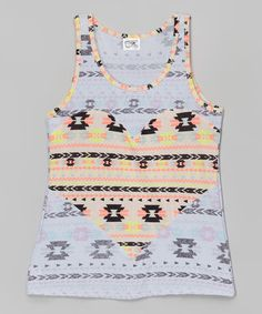 Look what I found on #zulily! Coral & Black Geometric Heart Tank #zulilyfinds