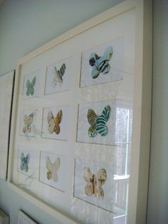 framed butterflies cut out of anthropologie catalogs - cute art.