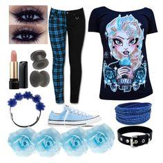 """emo Elsa"" by xcreepygirlx ❤ liked on Polyvore featuring Disney, Lancôme, Gigi Burris Millinery, Converse, Swarovski and Charlotte Russe"