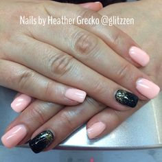 LCN's night lights in light coral and black with gold glitter gel.
