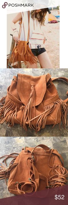 """Urban Outfitters fringe suede back/shoulder bag Urban Outfitters suede fringe mini backpack/shoulder bag. Adjustable straps. Snap and drawstring for closure. New without tags. Perfect condition. Color is camel. Bundle and save 15%. Approx 11""""X11"""" Urban Outfitters Bags Backpacks"""