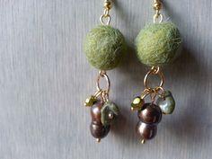 Alpaca fiber earrings, olive green.
