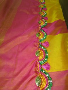 Creative Embroidery, Hand Embroidery Designs, Beaded Embroidery, Saree Tassels Designs, Saree Kuchu Designs, Saree Accessories, Indian Silk Sarees, Saree Border, Crochet Needles