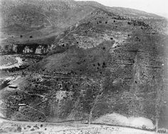 Hejaz Railway - Continuation of last picture (Wadi Kelt to Shajara stretch). Notice the great depth of the valley. A bridge comes in between these two sections.
