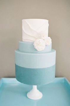 Tiered Blue and White Cake with Fabric Detailing | Sweet and Saucy Shop