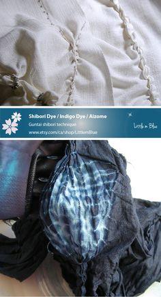 Shibori dye / Natural indigo dye / Aizome Unstitching Guitai shibori dye; Japanese tie dye. Creating Nore; Japanese wall hanging. (Little m Blue)