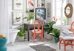 Kelly Cutter, Orchids II - William Stafford - Brands One Kings Lane Most Expensive Book, Architecture Design, William Stafford, Tropical Bathroom, Birds Of America, European Home Decor, Flamingo Print, Love Home, Bird Prints