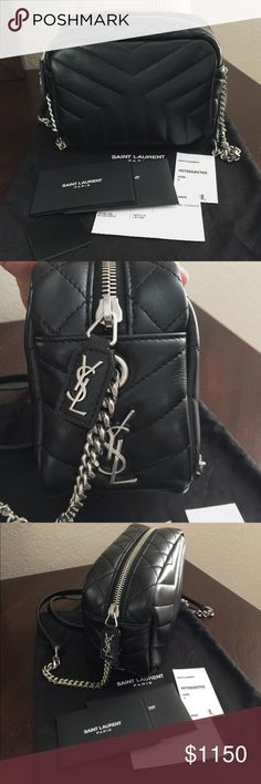 "NWT Saint Laurent Mini Camera Leather Crossbody 100% Authentic. New with tag. Comes with authenticity card, care card, swatch leather and dust bag. Saint Laurent Y-quilted leather camera crossbody bag. Silvertone hardware. Chain and leather shoulder strap. Zip top closure. Logo medallion on side. 5""H x 6.5""W x 3.5""D. ""Monogram"" is made in Italy. Saint Laurent Bags Crossbody Bags"