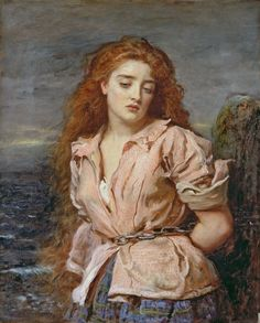 Millais / The Martyr of the Solway. The story behind this picture is tragic: Margaret Wilson, a member of the Free Church who refused to recognise the established Church of Scotland, condemned to death by drowning for her beliefs. The painting shows her chained to rocks on the Solway Firth where she and a friend were condemned to death by drowning in 1685. It is said that as the tide rose she defiantly quoted and sang from scripture, and witnesses described how her hair floated.