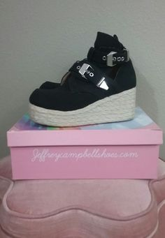 3c17c0708f8b Jeffrey Campbell havana Platrane black canvas espadrille boot hard to find