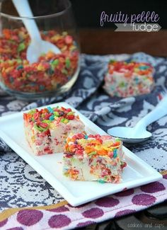 Fruity Pebble Fudge White Chocolate Cream Cheese Fudge with sweet, crunchy Fruity Pebble Cereal throughout!