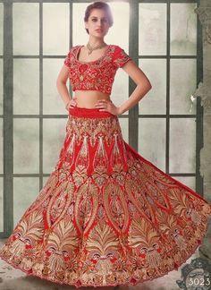 Awesome Red Pure Raw Silk With Embroidery Work Wedding Lehenga Choli http://www.angelnx.com/Lehenga-Choli