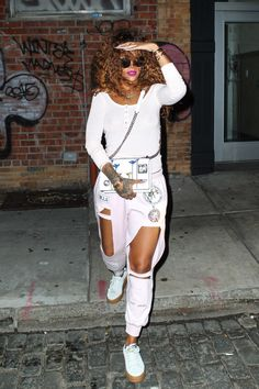 Rihanna was obviously feeling godly as she left the Bang Bang tattoo shop in NYC.
