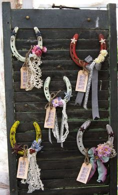 Lucky Horseshoe Rustic Primitive Upcycled Romantic by Fannypippin,Items similar to Lucky Horseshoe -Rustic Primitive Up-cycled, Romantic Prairie style horse shoe- Lucky star vintage lace and roses on Styling Horseshoe Ideas For A Rustic Farm W Horseshoe Projects, Horseshoe Crafts, Lucky Horseshoe, Horseshoe Art, Horseshoe Ideas, Western Crafts, Country Crafts, Fun Crafts, Diy And Crafts