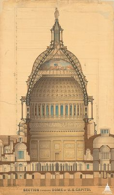 1859: Thomas U. Walter adjusted the upper dimensions and profile of the Capitol Dome to accommodate the Statue of Freedom. He also redesigned the interior of the Dome, known as the Rotunda.