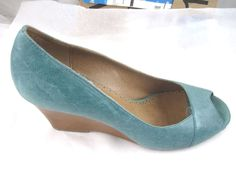 c16d1e5c6 Miz Mooz 41 10M teal green blue peep toe wedges womens shoes heels pumps