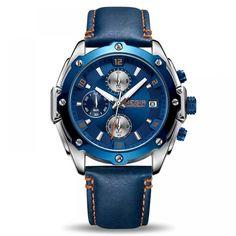 Sport Center: On Sale MEGIR Chronograph Men Watch Relogio Masculino Blue Leather Business Quartz Watch Clock Men Creative Army Military Wrist Watches Sport Watches, Cool Watches, Watches For Men, Wrist Watches, Men's Watches, Jewelry Watches, Datejust Rolex, Bracelet Cuir, Digital Watch