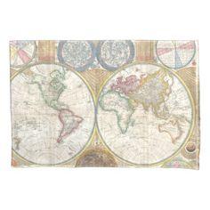 #World Travel Map Antique Vintage Pillow Case - #Pillowcases #Pillowcase #Home #Bed #Bedding #Living