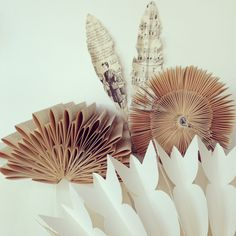 7Vignette. Day 2 Folded...collection of paper folded vintage books, paper origami, feathers