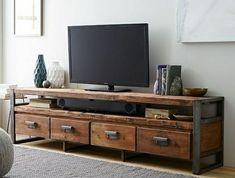 Meuble TV Isis B Cosy en bois recyclé Teck et métal 3 tiroirs
