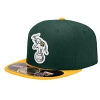 New Era MLB 59Fifty Diamond Era BP Cap - Men's - Oakland Athletics - Dark Green / Gold