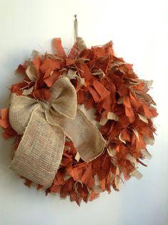 "Fall Wreath, Autumn Wreath, Burlap Fall Wreath, 24"" LARGE, Orange Wreath, Two Toned Wreath, Thanksgiving Wreath on Etsy, $58.00"