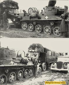 Toldi 38.m a magyar királyi 102.páncélos századból ,mögötte egy valószínűleg rádiós rába botond 1944. februárjában Galícia.