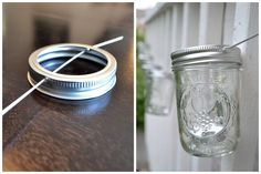 DIY mason jar string lights; use small solar lights instead of candles, or try to fasten a string of larger Christmas lights :)