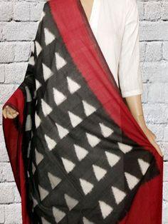 Buy Triangles - Black with Maroon Fine Cotton Ikat Dupatta