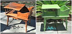 Vintage magazine table gets a bright coat of paint with black glaze.