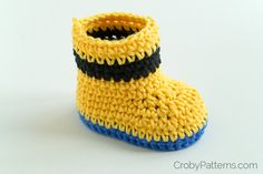 Minion Inspired Baby Booties by Croby Patterns