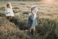 Rylee & Cru lookbook, kids photography, meadow, boho, flower wreath, girls dress, natural, sunset