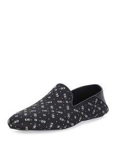 Fendi Karlito Printed Evening Slipper, Black