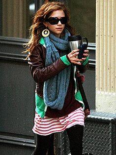 Mary-Kate Olsen: leggings, short tunic dress, layers of t-shirt, sweatshirt, jacket, scarf. big earrings, sunglasses. CHIC.