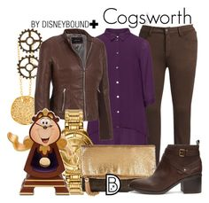 """""""Cogsworth +"""" by leslieakay ❤ liked on Polyvore featuring Gorjana, NYDJ Plus, Manon Baptiste, Wilsons Leather, Versus, La Regale, Disney, Forever 21, disney and disneybound"""