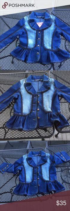 Jacket and/or shirt 🤔😊 Dark blue with light blue denim. Has a Victorian vibe going on about this jacket. I just LOVE IT!!!! But it's just a touch too big for me. My daughter is not interested. She's crazy cuz she's look amazing in this! It is in very, VERY good condition. I am jealous of who gets and fits this nicely. The Pyramid Collection Jackets & Coats Jean Jackets