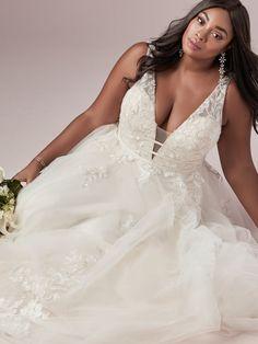 Raelynn Lynette Plus Size A-Line Bridal Gown   Rebecca Ingram Lazaro Wedding Dress, Sheath Wedding Gown, Maggie Sottero Wedding Dresses, Dream Wedding Dresses, Designer Wedding Dresses, Boho Wedding, Wedding Gowns, Wedding Bells, A Line Bridal Gowns