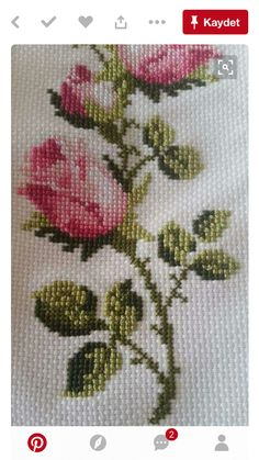Discover thousands of images about Roses cross stitch. Funny Cross Stitch Patterns, Cross Stitch Borders, Cross Stitch Rose, Modern Cross Stitch, Cross Stitch Flowers, Cross Stitch Designs, Cross Stitching, Hand Embroidery Dress, Embroidery Kits