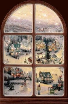 Window of Christmas Window of Christmas Christmas Town, Christmas Scenes, Old Fashioned Christmas, Noel Christmas, Victorian Christmas, Winter Christmas, Christmas Artwork, Christmas Paintings, Vintage Christmas Images