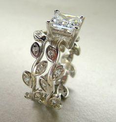 Custom Made Princess Cut Moissanite. Leaf Engagement Ring Set. 14k Gold Wedding Set.
