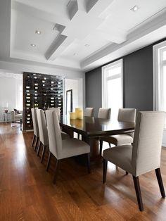 Contemporary Dining Room Idea In Toronto With Black Walls Mdash...