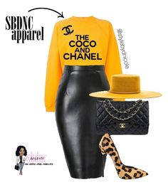 Yellow crop shirt and black leather Coco Chanel with Christian Loubatain heels with black leather hand clutch. Cute Fashion, Look Fashion, Winter Fashion, Fashion Outfits, Womens Fashion, Fashion Beauty, Classy Outfits, Stylish Outfits, Fall Outfits